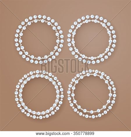 Round Pearl Frames. Set Of Double String Pearl Circles On Biege Background. Vector Elements For Deco