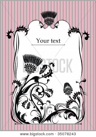 vintage frame with thistle