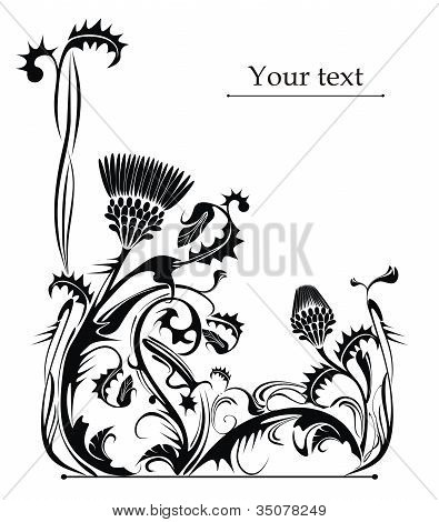 black and white vector decorative plant