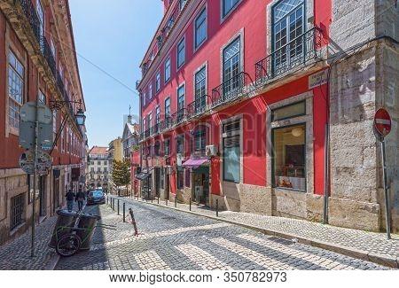 Lisboa, Portugal - April 2018: Street In The City Center