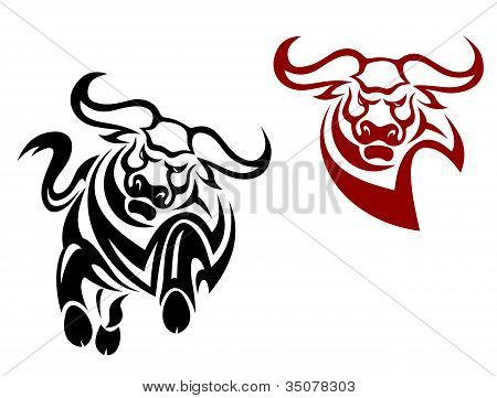 Bull and buffalo mascots isolated on white background poster
