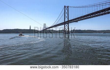Lisboa, Portugal - April 2018: 25th Of April Bridge In The City Center