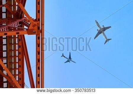 Lisboa, Portigal - April 2018:  Planes Over Tagus River In The City Center