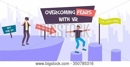 Vr Fears Medicine Therapy Composition With Flat Cityscape And People Overcoming Fear Of Heights With