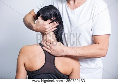 Physiotherapy Neck Pain Exercises. Muscle Therapy Background. Body Massage In Spa.