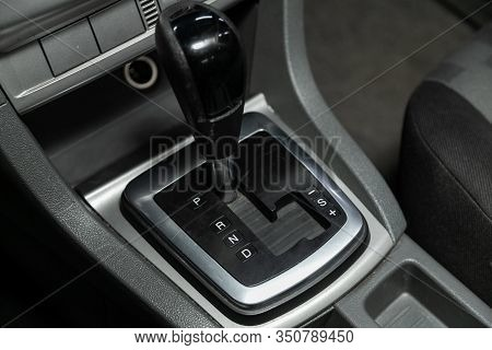 Novosibirsk, Russia - November 13, 2019:  Ford Focus, Gear Shift. Automatic Transmission Gear Of Car