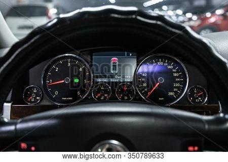 Novosibirsk, Russia - December 06, 2019:  Volkswagen Touareg,  Dashboard Of The Car Is Illuminated B