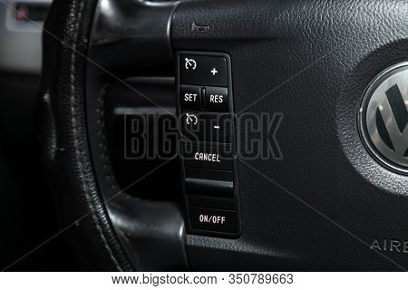 Novosibirsk, Russia - December 06, 2019:  Volkswagen Touareg,  New Black Steering Wheel With Multifu