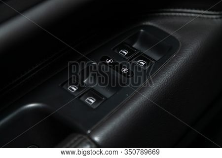Novosibirsk, Russia - December 06, 2019:  Volkswagen Touareg,  Close-up Of The Side Door Buttons: Wi