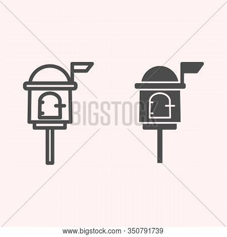 Letterbox Line And Glyph Icon. Mail Box On Stand With Handle Lock. Postal Service Vector Design Conc
