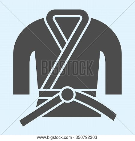Kimono Solid Icon. Asian Martial Art Costume, Judo And Karate Or Other Suit With Belt. Sport Vector