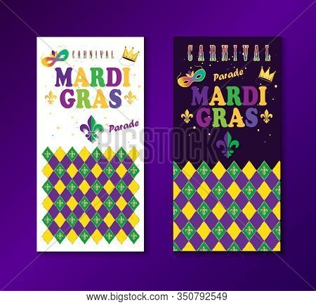 Set of Happy Holiday Mardi Gras carnival abstract background greeting cards banners New Orleans, Rio Brazil, vector template