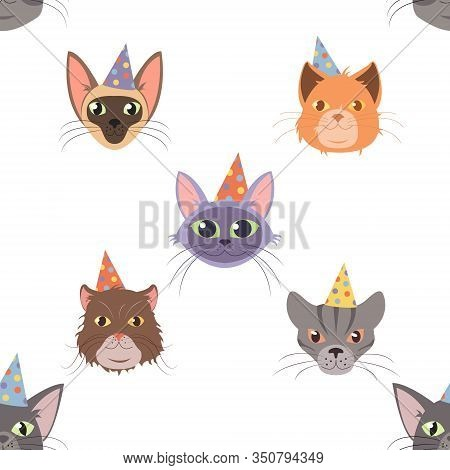 Vector Cat Head For Cats Happy Birthday Celebration Greeting Cards Or Invitation Banners Seamless Pa