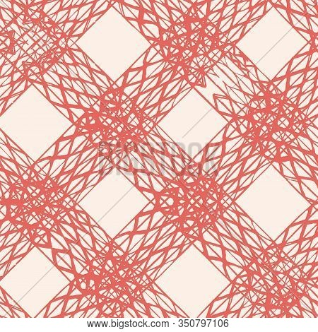 Terracotta Red And Beige Vector Seamless Check Pattern. Allover Pattern. Ink Grunge Grid. Hand Drawn