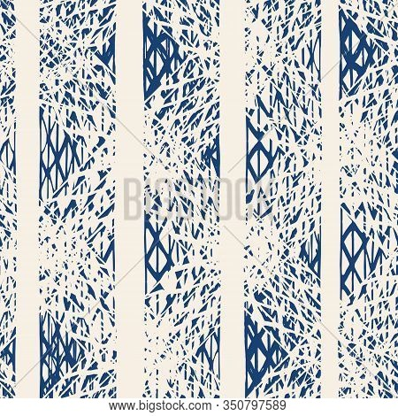 Indigo And White Vector Seamless Check Pattern. Allover Pattern. Ink Grunge Grid. Hand Drawn Seamles