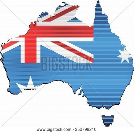 Shiny Grunge Map Of The Australia - Illustration,  Three Dimensional Map Of Australia