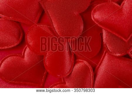 Background Of Red Hearts.top View Of Red Satin Hearts. Texture Of Red Satin. Close-up, Horizontal, T