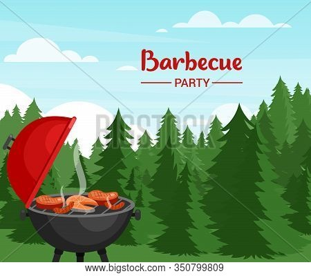 Barbeque Party In Forest Flat Vector Illustration. Outdoor Bbq Banner Template With Typography. Picn