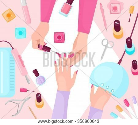 Professional Manicure Table Flat Vector Illustration. Manicurist And Female Customer Hands Closeup T