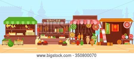 Eastern Bazaar, Street Market Flat Vector Illustration. Empty Arabic Marketplace Panorama With Stall
