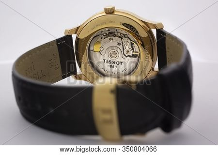 Le Locle, Switzerland 15.01.2020 - Tissot Man Watch Stainless Steel Case, Gold Pvd Coating Leather S