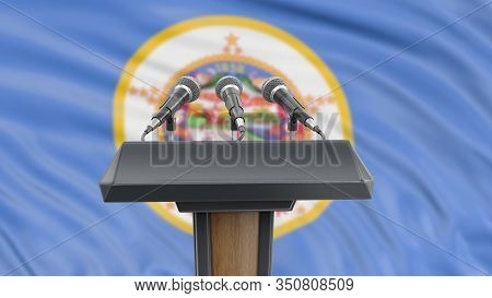 3d Illustration. Podium Lectern With Microphones And Minnesota Flag In Background