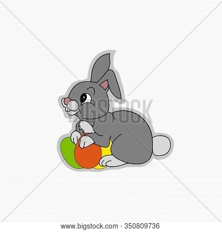 Hand Drawn Cute Easter Bunny With Easter Eggs Sticker Over Simply White Copy Space Background