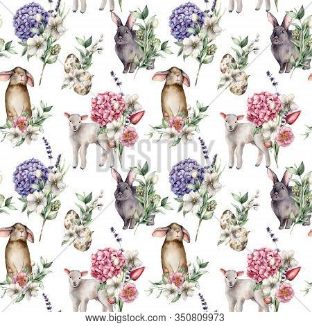 Watercolor Seamless Pattern With Rabbit And Lamb. Hand Painted Holiday Egg, Hydrangea, Anemone And L