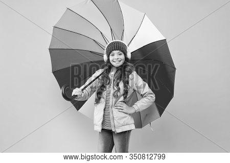 Accessory In Case It Rains. Small Child Enjoy Music Under Colorful Umbrella Rain Accessory. Little G