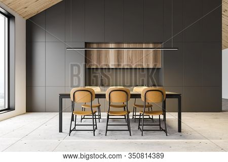 Gray Attic Kitchen Interior With Dining Table