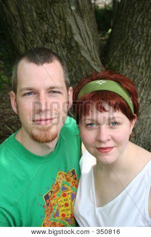 Happy Couple Looks Up