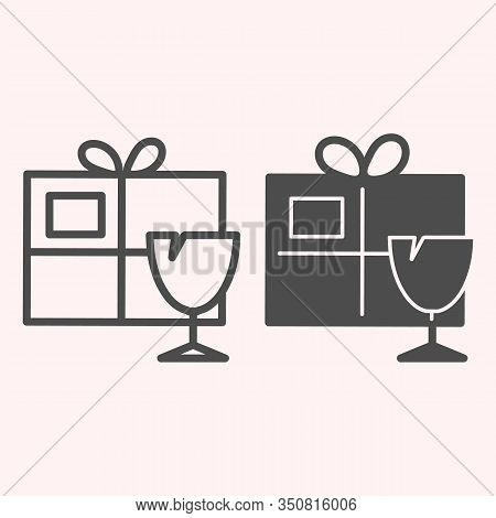 Fragile Box Line And Glyph Icon. Fragile Cargo Package With Glassware. Postal Service Vector Design