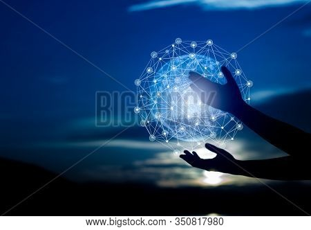 Abstract Science, Circle Global Network Connection In Hands On Night Sky Background .blue Tone Conce