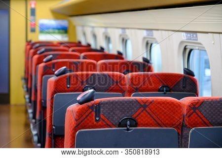 Jr Red Seat On Japanese Train Jr Shinkungzen Colorful Aisle Seat E, Jr Train Park On The Track Arran