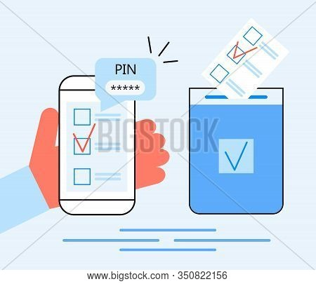 Online Voting, Electronic Elections Concept Vector. Voter Hand Holding List Newsletter With Mark On