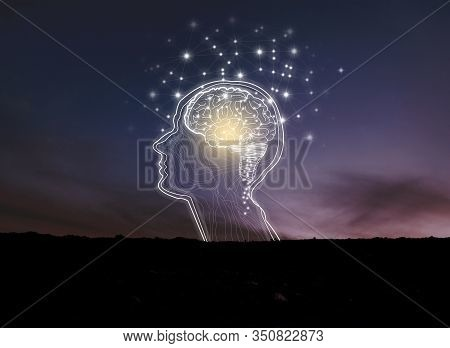 Virtual Reality Man With Symbol Neurons In Brain.creative Idea.concept Of Idea And Innovation. Backg