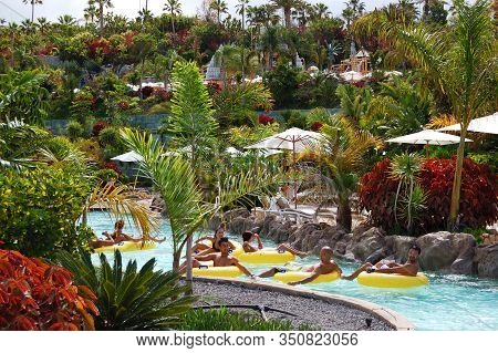 Tenerife Island, Spain - May 22: The Tourists Enjoying Water Attractions In Siam Waterpark On May 22