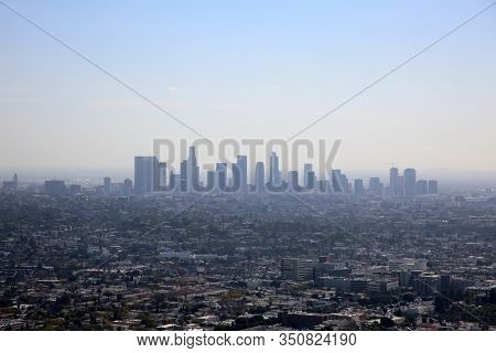 Los Angeles California. View of Los Angeles California. City Views of the Big City in LA. Buildings, Homes, Sky Scrapers and Roads make up the city of LA and state of California.
