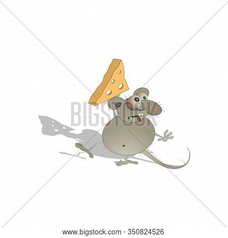 A Cartoon Fat Mouse Sneaks And Carries A Piece Of Cheese In Its Paw. Vector Illustration On A White