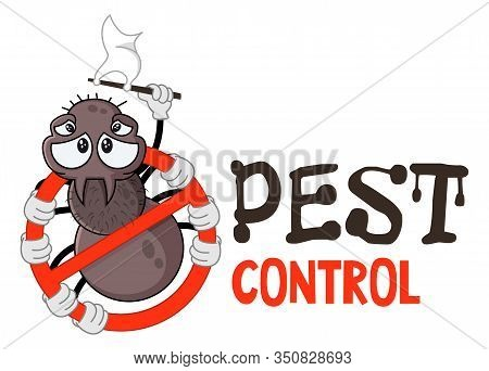 Funny Vector Illustration Of Pest Control Logo For Fumigation Business. Comic Locked Spider. Design