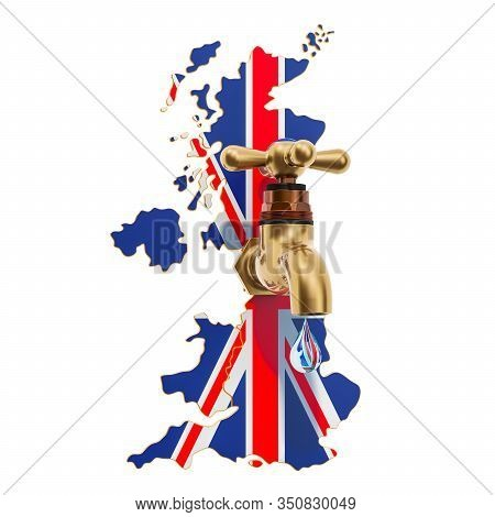 Water Resources, Drinking Water Of The United Kingdom Concept, 3d Rendering On White Background