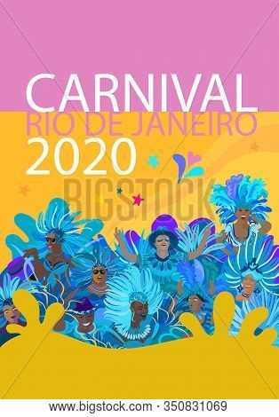 2020 Abstract Rio Brazilian Carnival music dance festival night party poster, flyer, banner. Happy people Samba dancers parade Sambadrome, New Orleans Mardi Gras, Notting Hill London Venezia costume mask firework exotic tropical palm leaves Spanish San Fe