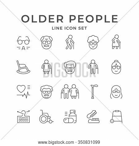 Set Line Icons Of Older People Isolated On White. Old Person, Grandfather And Grandmother, Retired P