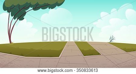 Park Or City Area With Paths, Green Lawns And Tree, Summer Time Landscape With Blue Cloudy Sky Backg