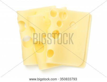 Emmentaler Cheese Slices Isolated On White Background. Flat Lay. Top View