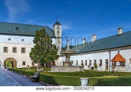 Cerveny Kamen Castle Is A 13th-century Castle In Southwestern Slovakia. Courtyard Of The Castle