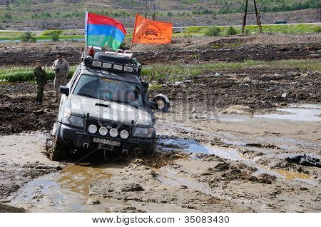 Off-road Car In Difficult Terrain