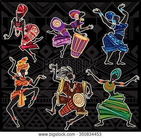Dancing People In Traditional Ethnic Style On A Black Background