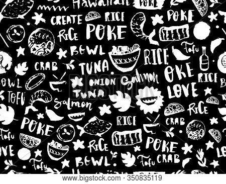 Poke Seamless Pattern, Restaurant Menu Design. Colorful Grunge Cafe Template, Healthy Hawaiian Nutri