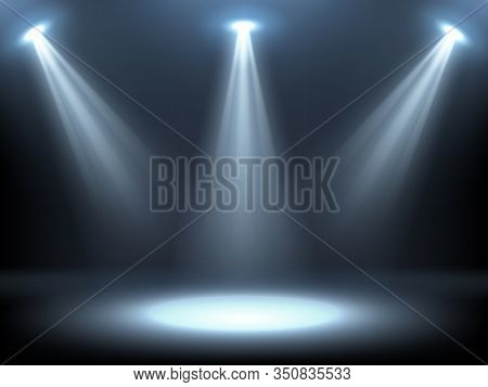 Stage Illuminated By Spotlights. Empty Podium With Spot Of Light. Vector Realistic Mockup Of Studio
